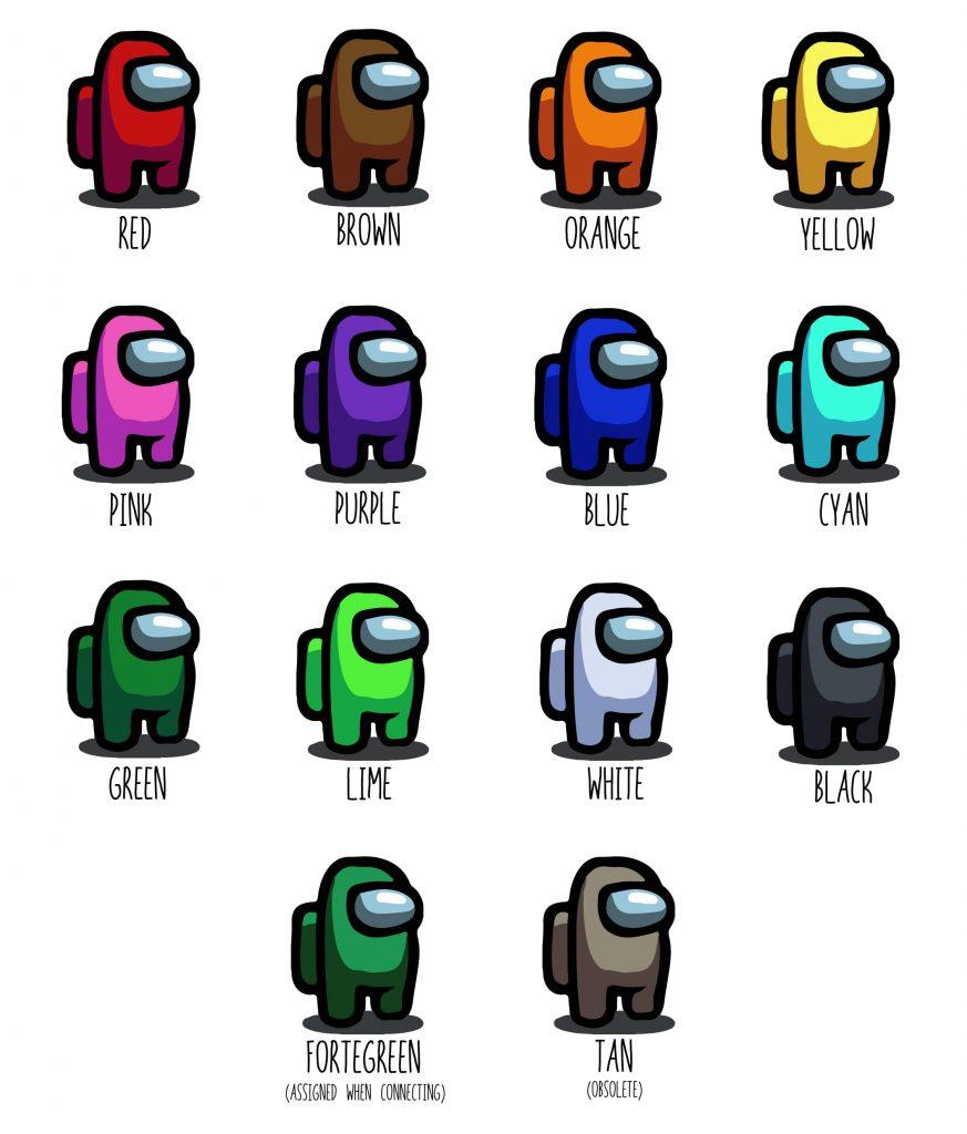 Amoung Usの各プレイヤーはそれぞれ異なる12色を選ぶことができる